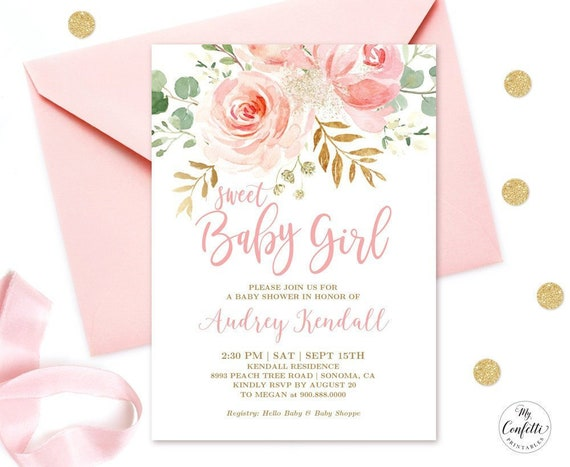 Editable Invitation Blush Pink Floral Baby Shower Invitation Etsy