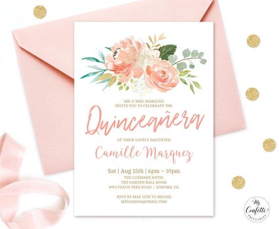 EDITABLE Peach Floral Quinceanera Invitation Printable