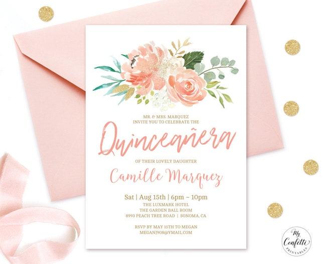 editable peach floral quinceañera invitation printable etsy
