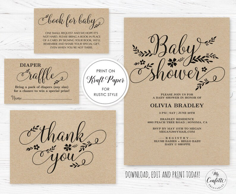 Rustic Baby Shower Invitation Template Editable Printable Etsy