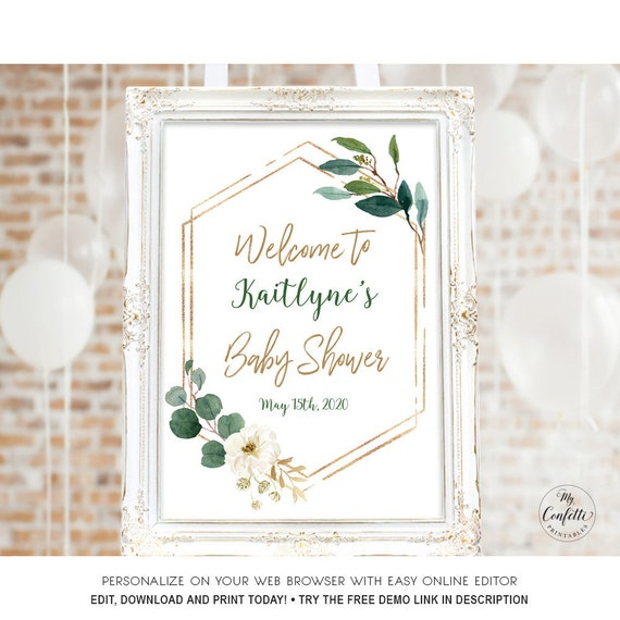 Modern Greenery Baby Shower Welcome Sign Printable Large Welcome Sign Template Editable Name Date Boy Or Girl Mcp813 Cjb