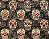 Sugar skull cotton woven fabric, spooky fabric by the yard, cotton fabric, face mask fabric, Halloween fabric, Dia de los Muertos fabric