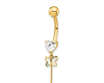 14k Yellow and Rose Gold Two-Tone Cubic Zirconia Double Butterfly Dangle Belly Ring Beauniq