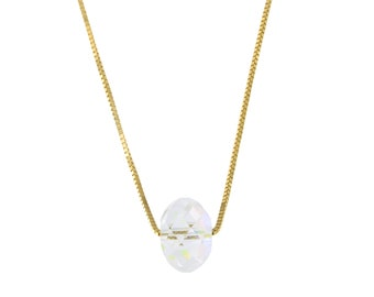 14k Yellow, White or Rose Gold Box Chain Swarovski Elements Clear Aurora Borealis Crystal Necklace - for women, for girls, for men necklace