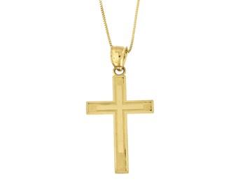 Cross pendant etsy 10k yellow gold textured cross pendant necklace aloadofball Choice Image