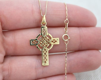 c463e9ada1cf 14k Yellow Gold Celtic Cross Pendant Necklace - everyday necklace, 14k  solid gold, religious jewelry, cross necklace, layering necklace