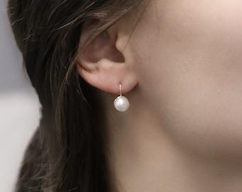 Solid 14K Yellow Gold AAA WHITE Pearl Dangle Earrings Screw-backs Children Petit