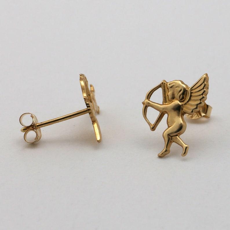 14k Yellow Gold Cupid Stud Earrings Pair 14k gold everyday earrings Greek inspired jewelry - dainty earrings cherub jewelry cupid eros