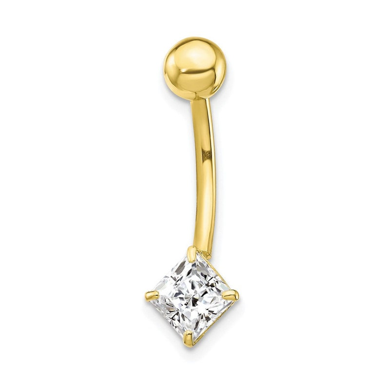 10k Yellow Or White Gold 5mm Square Cubic Zirconia Belly Button Navel Ring Belly Ring 10k Gold Belly Ring Body Jewelry Navel Ring