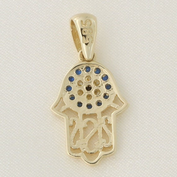 14k Yellow Gold Simulated Sapphire /& Cubic Zirconia Tiny Hamsa Pendant Necklace