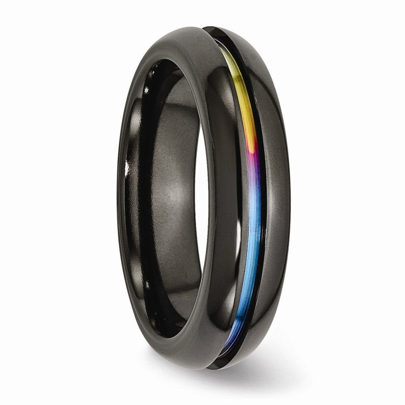 everyday ring Unisex Black Titanium 6mm Anodized Multi-Colored Rainbow Center Polished Band Comfort Fit Ring alternative wedding ring