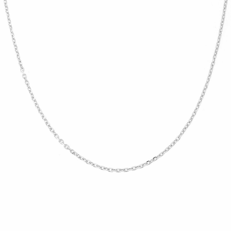 Simple Chain 18k Yellow or White Gold 1.1mm Diamond Cut Cable Chain Necklace 16 18 Gold Cable Chain For Pendant Great Gift Idea