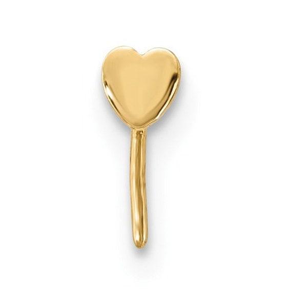 nose piercing stud 14k Yellow or White Gold Flat Heart Nose Stud Ring 20 Gauge dainty heart nose stud 14k gold nose stud flat heart