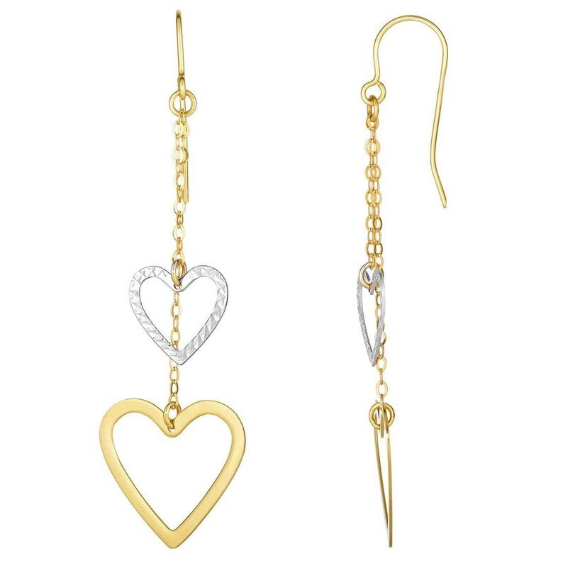 heart earrings - everyday earrings drop Pair 10k Yellow /& White Gold Two-Tone Open Heart Chain Dangle Earrings dangle earrings dainty