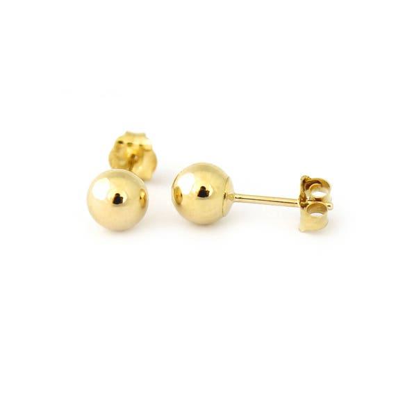 4mm 5mm 6mm 7mm 8mm 14k YELLOW GOLD ROUND BALL ONYX STUD EARRINGS PUSH BACK