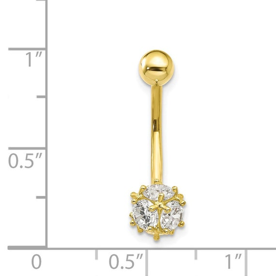10K Yellow Gold 7Mm Cz Soccer Ball Belly Dangle Hollow 7 mm 25 mm Naval Belly Body Jewelry