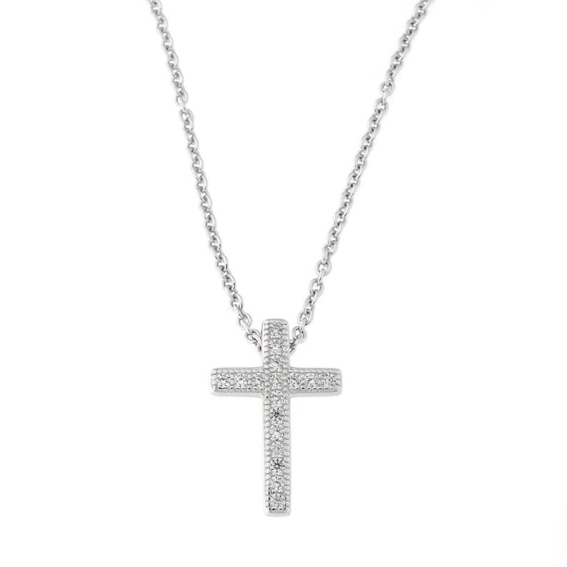 Sterling Silver Rhodium-plated CZ Cross Pendant