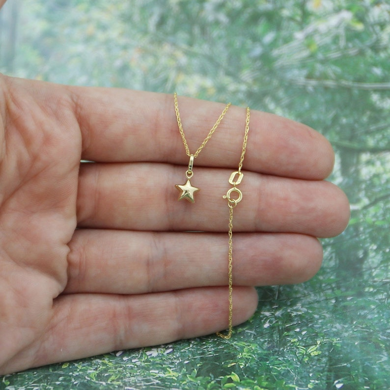 For Babies, Kids 14k Yellow Gold Tiny Puffed Star Pendant Necklace