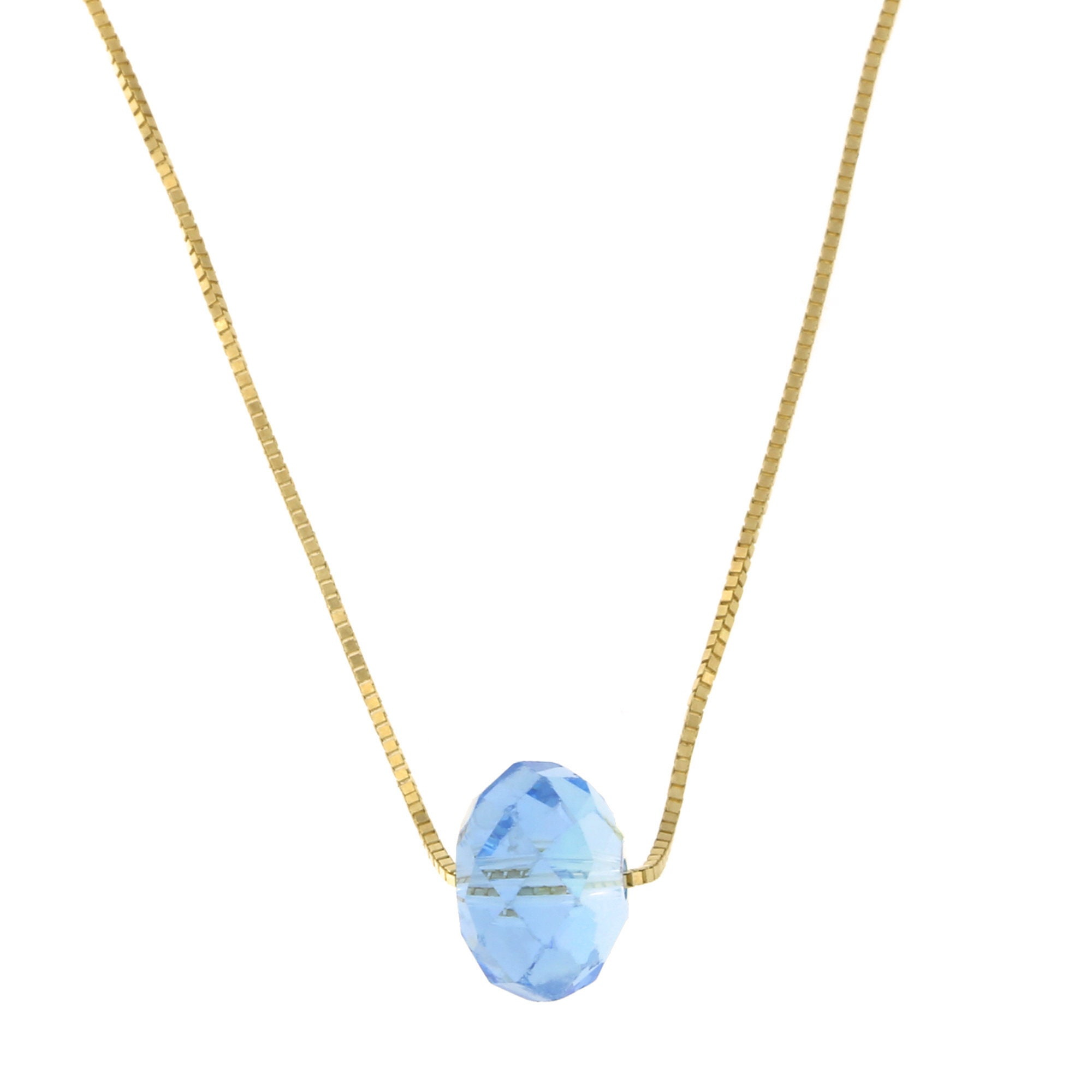 14k Yellow White or Rose Gold Rope Chain Iridescent Blue Crystal Necklace
