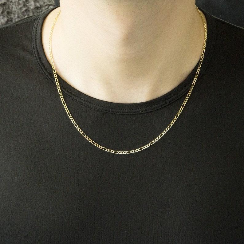 c90123d4de Men s 14k Solid Yellow Gold Figaro 2.6mm Chain Necklace
