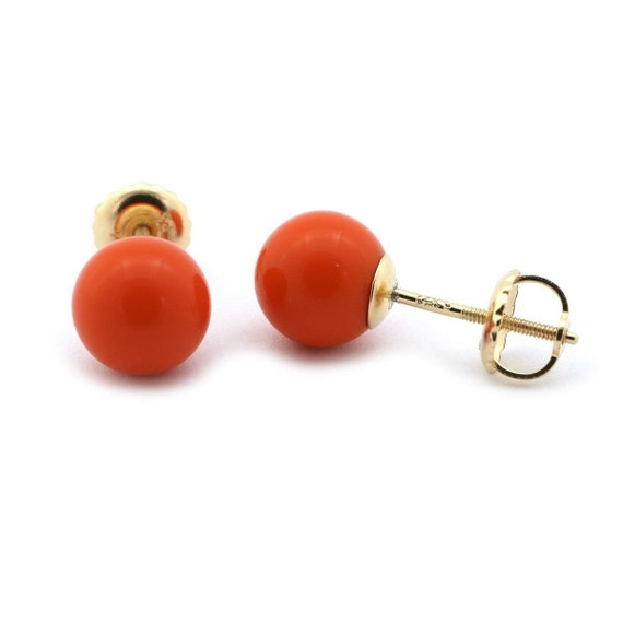 14k Yellow or White Gold or Sterling Silver Dark Red Simulated Coral Ball Safety Screwback Earrings