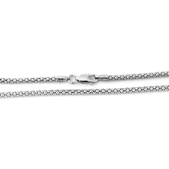 925 Sterling Silver RHODIUM Plated 1.6mm popcorn Chain Necklace ITALY 20/""
