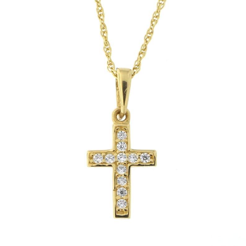 "13/"" 15/"" 16/"" 18/"" 20/"" 22/"" 14k Yellow Gold Infinity Open Cross Pendant Necklace"