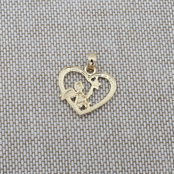 SALE Beauniq 14k Yellow /& White Gold Angel in a Heart Pendant Necklace