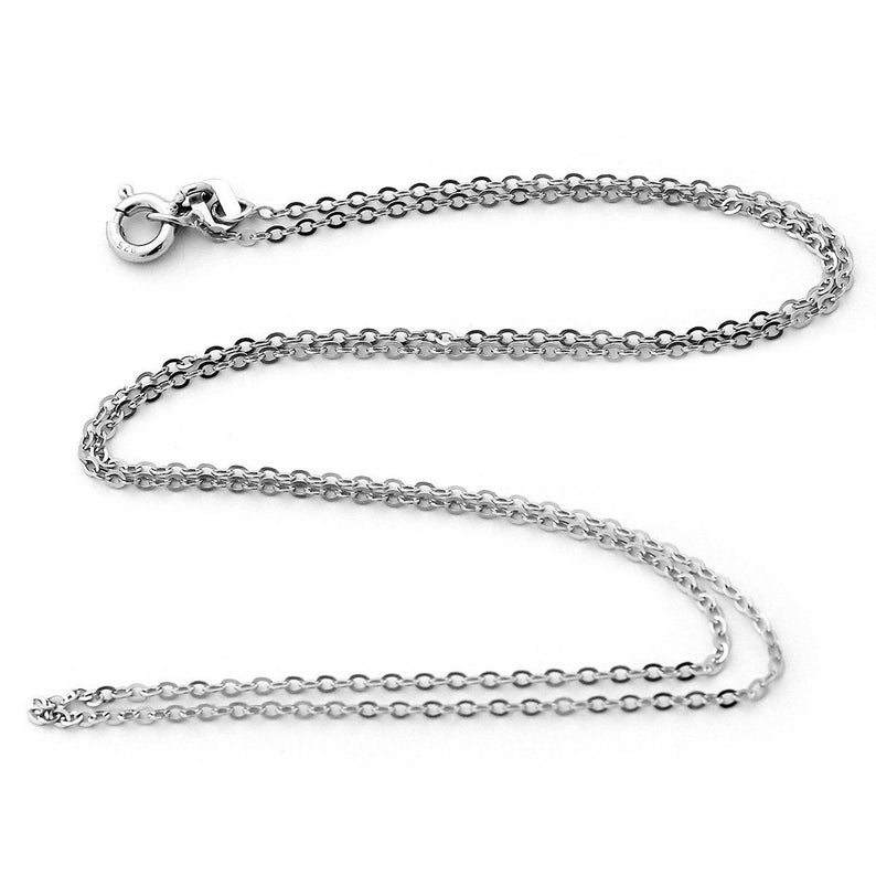 silver jewelry chain for pendant minimal everyday chain Solid Sterling Silver Rhodium Plated 1.30mm Cable Chain Necklace