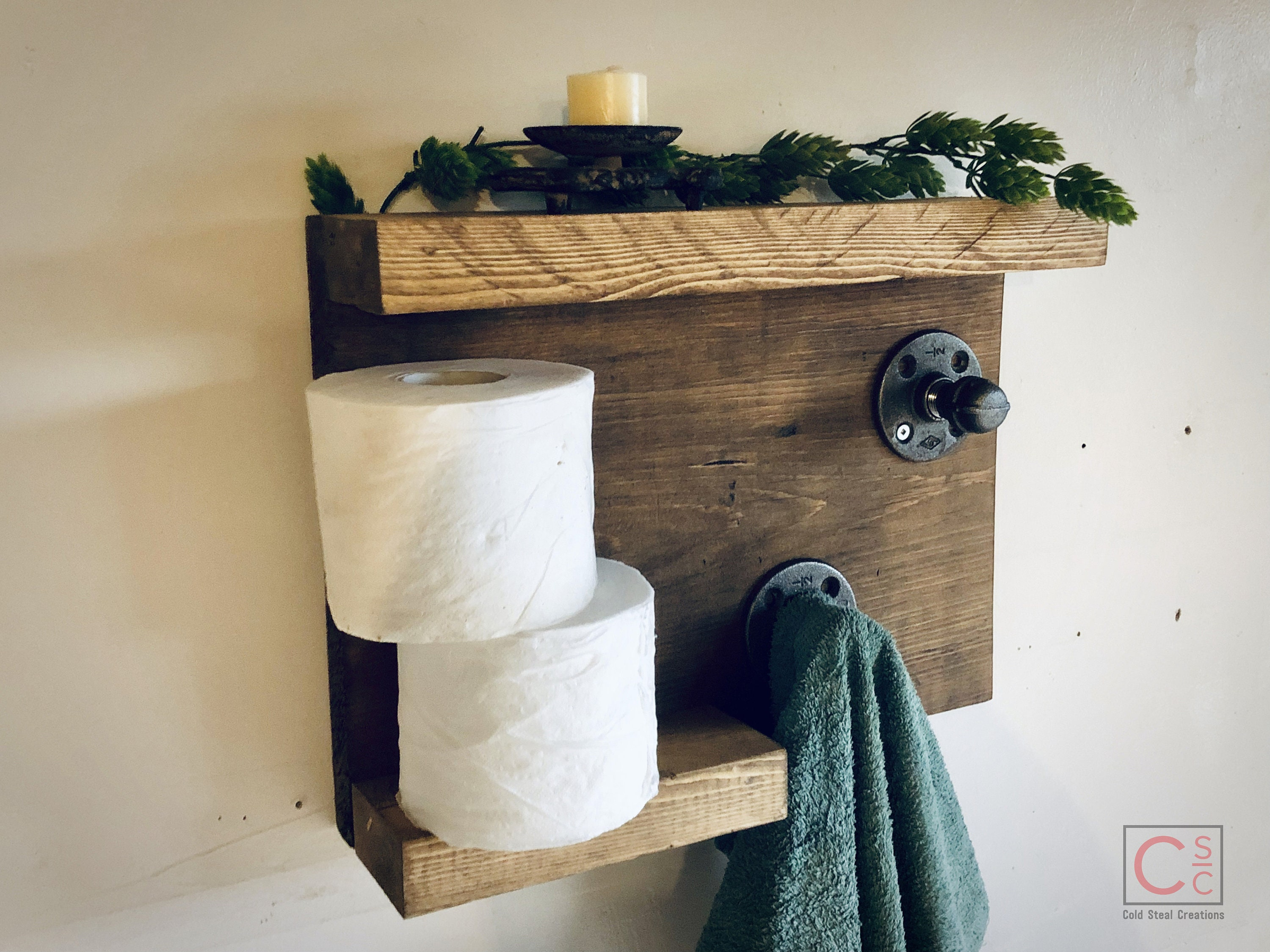 Unique Bathroom Shelf With Industrial Towel Hooks Farmhouse Decor Country Rustic Storage Towel Holders And Hooks