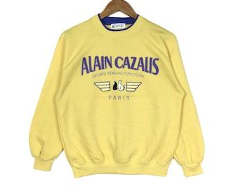 d4beac8ef179 Vintage 90s ALAIN and CAZALIS PARIS Big Logo Embroidered Yellow Colour  Sweatshirt Hiphop Swag Vintage Mens Clothing Medium Size Gift
