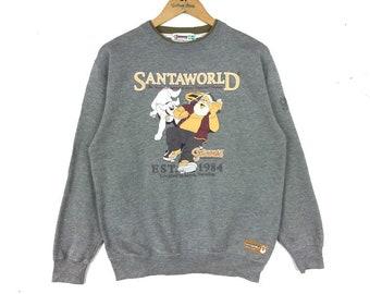 5896314549715 Vintage 90s CAPTAIN SANTA Sweatshirt Biglogo Spellout Pullover Jumper  Silver Colour Medium Saiz Gift