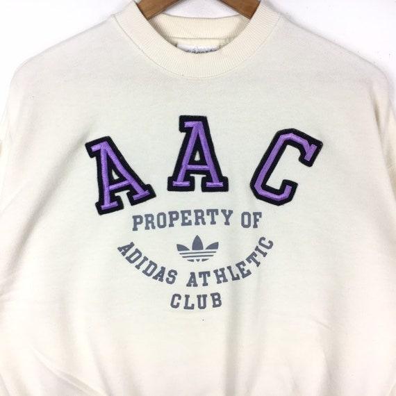 Vintage ADIDAS Athletic Club Big Logo White Color Sweatshirt Pullover Jumper Medium Size Hiphop Swag Trefoil Sportswear Gift Streetwear