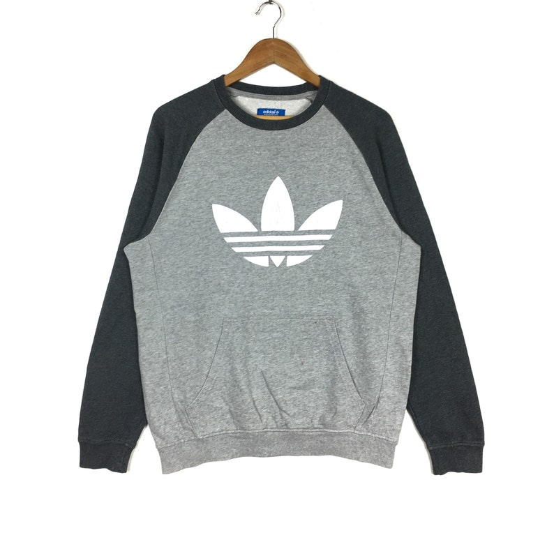ADIDAS Stripes Silver Color Block Sweatshirt Pullover Jumper large Size Hiphop Swag Trefoil Sportswear Gift Streetwear