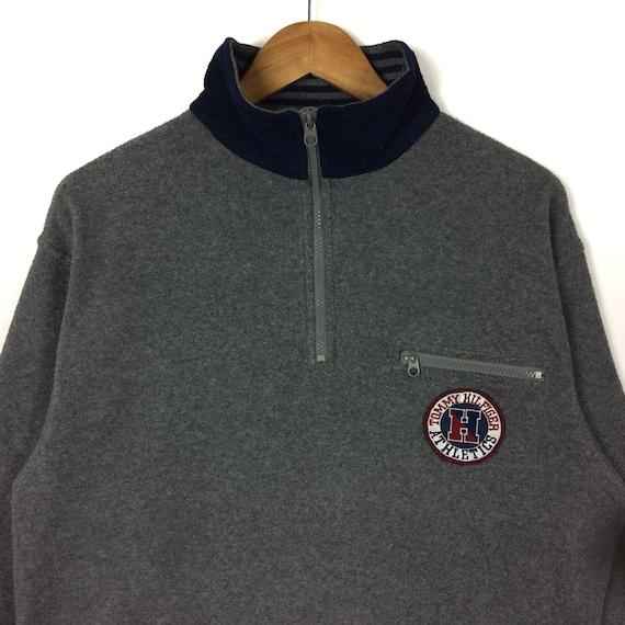 Colour Outdoor Swag Embroidered Hiphop Medium Jacket Grey TOMMY Big Fleece HILFIGER Size Clothing Streetwear Rare Logo q7v87a