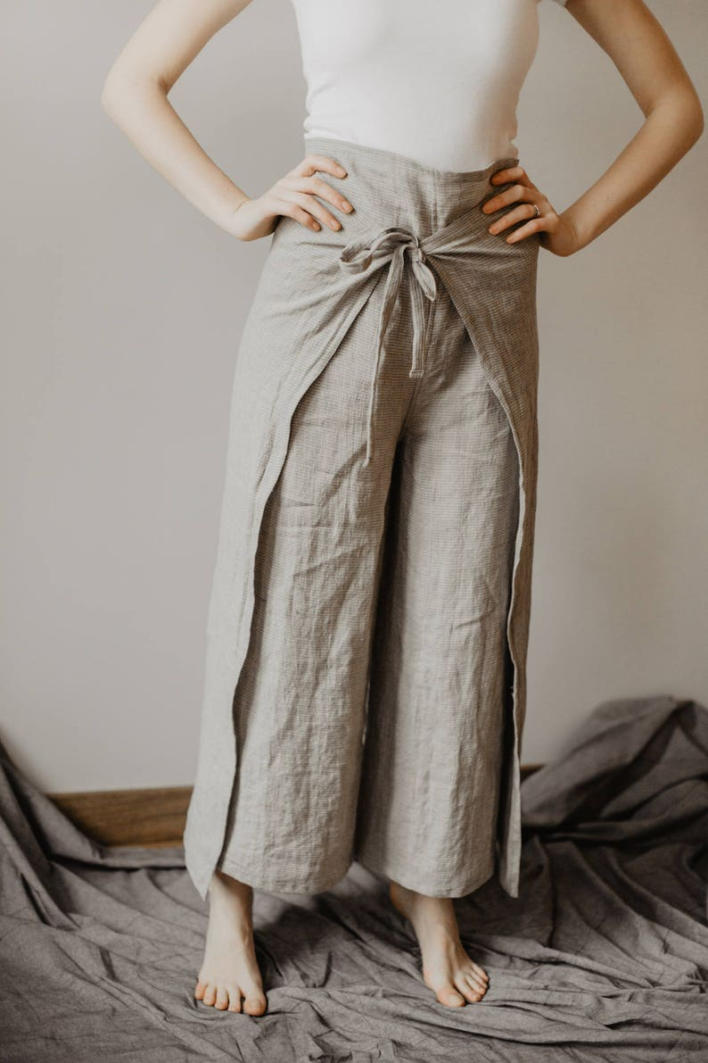 1bfd7b076a3 Fisherman Pants Linen Wrap Pants Womens Line Yoga Trousers