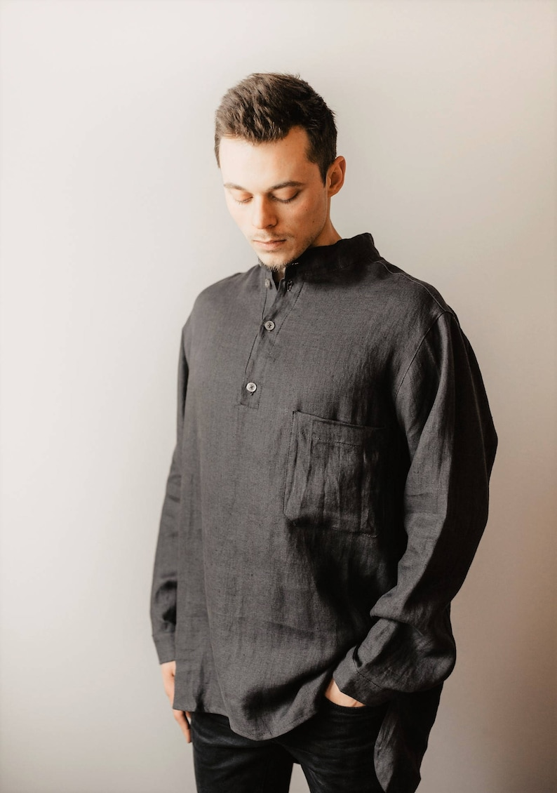 a1115313 Mens Black Linen Shirt – EDGE Engineering and Consulting Limited
