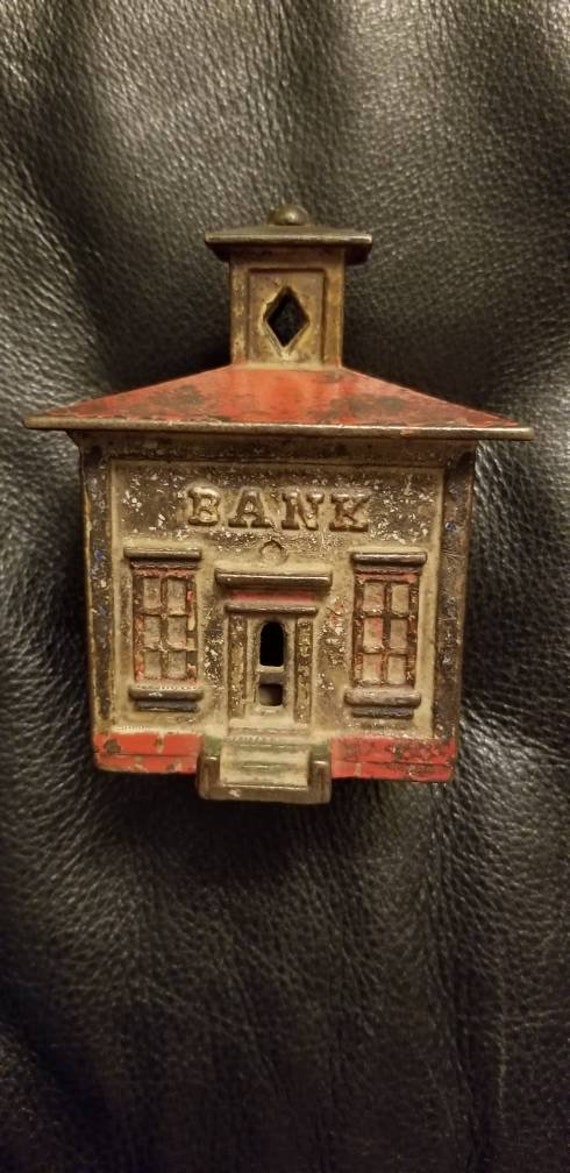 Antique Small Cast Iron Je Stevens Cupola Coin Still Bank Orig Red Paint