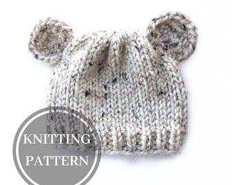 a4175a7407eb6 Knitting Pattern - Knit Bear Hat - Bear Cub Knit Hat - Knitting PDF Pattern
