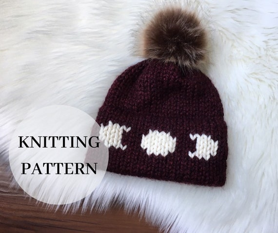 Adult Knit Double Brim Beanie Pattern PDF Knitting Pattern Phases of the Moon Toque Knit Moon Hat