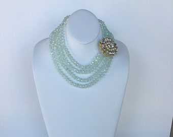 HANDMADE Glass Bead Boho  Necklace with Removable Brooch