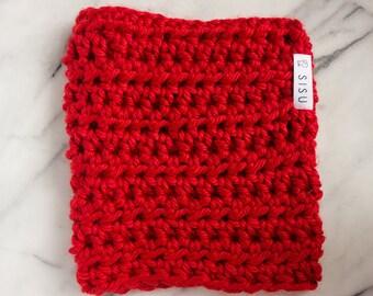 Handmade Red Infinity Scarf / Cozy Chunky Red Scarf / Red Scarf / Crochet Red Scarf / Crimson Infinity Scarf / Cozy Red Cowl / SISU /Charity