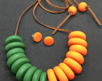 Khaki and Orange Clay Disc Necklace with Matching Earrings