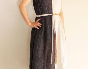 Gestreift / Beige Leinen aufgeteilt, colour-Blocking, Leinen Kleid, Knielanges Kleid, ärmelloses Kleid, Sommerkleid, einfaches Kleid, minimalistisch