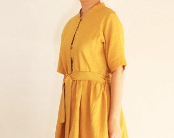 Gelbes Leinen Shirt-Kleid - Leinen, lässig Kleid, Sommerkleid, knielang, Sommer-Shirt-Kleid, Leinen Damenkleidung