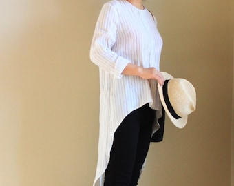 Striped linen tunic shirt with long back detail, linen shirt, linen blouse, linen tunic, striped shirt, striped blouse, womens shirt, casual