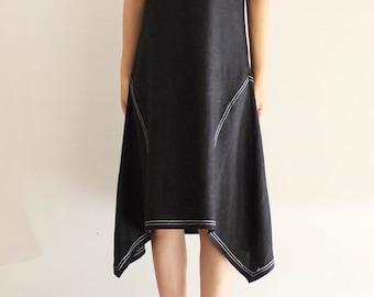 Ärmelloses schwarzes Leinen Kleid mit Futter Detail - Leinen Kleid, Sommerkleid, knielang, Leinen Damenkleidung, Lässige Kleidung, a-Linie Kleid