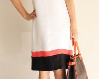 Ärmelloses Kleid aus Leinen mit Block Farbdetails, Leinen, Knielanges Kleid, ärmelloses Kleid, Sommerkleid, einfaches Kleid, minimalistisch