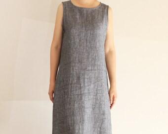 Minimalistische grau Leinen Kleid, a-Linie Kleid, Lässige Kleidung, Tunika-Kleid, einfaches Kleid, Sommerkleid, knielang, Leinen Damenkleidung
