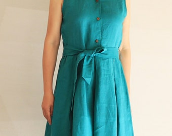 Türkis ärmelloses Leinen Shirt-Kleid - Leinen, lässig Kleid, Sommerkleid, knielang, Sommer-Shirt-Kleid, Leinen Damenkleidung